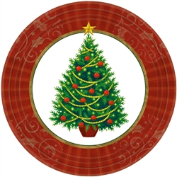 "Twinkling Tree 9"" Round Paper Plates 