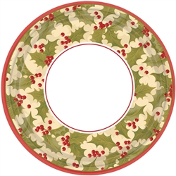 "Winter Holly 9"" Round Paper Plates 