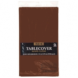 "Chocolate Brown Plastic 54"" x 108"" Table Cover 