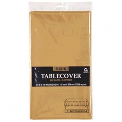 "Gold Plastic 54"" x 108"" Table Cover 