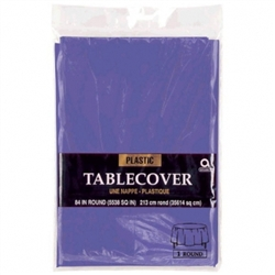 "New Purple 84"" Round Plastic Table Cover 