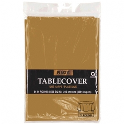 "Gold Round Plastic 84"" Table Cover 