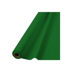 "Festive Green 40"" x 100' Plastic Table Roll 