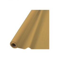 "Gold Plastic 40"" x 100' Table Roll 