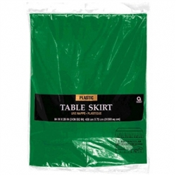 "Festive Green 14' x 29"" Plastic Table Skirt 