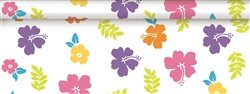 Hibiscus White Plastic Table Roll | Party Supplies