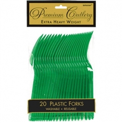 Festive Green Heavy Weight Plastic Forks - 20ct | Party Supplies