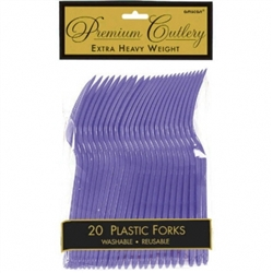 New Purple Heavy Weight Plastic Forks - 20ct | Party Supplies