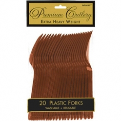 Chocolate Brown Premium Plastic Forks - 20ct. | Party Supplies
