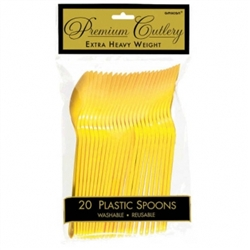 Yellow Sunshine Heavy Weight Plastic Spoons - 20ct | Party Supplies