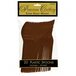 Chocolate Brown Premium Plastic Spoons - 20ct. | Party Supplies
