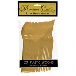 Gold Premium Plastic Spoons - 20ct. | Party Supplies