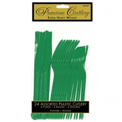 Festive Green Heavy Weight Cutlery Assortment - 24ct | Party Supplies