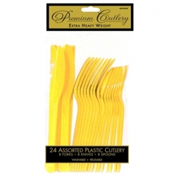 Yellow Sunshine Heavy Weight Cutlery Assortment - 24ct | Party Supplies