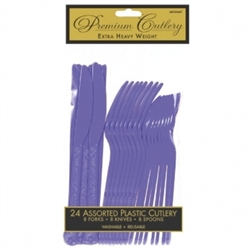 New Purple Heavy Weight Cutlery Assortment - 24ct | Party Supplies