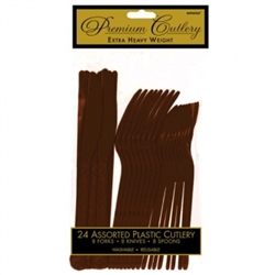 Chocolate Brown Premium Plastic Assorted Cutlery - 24ct. | Party Supplies