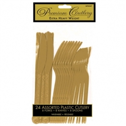 Gold Premium Plastic Assorted Cutlery - 24ct. | Party Supplies