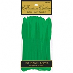 Festive Green Heavy Weight Plastic Knives - 20ct | | Party Supplies