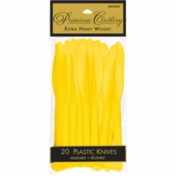 Yellow Sunshine Heavy Weight Plastic Knives - 20ct | Party Supplies