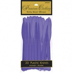 New Purple Heavy Weight Plastic Knives - 20ct | Party Supplies