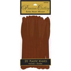 Chocolate Brown Premium Plastic Knives - 20ct. | Party Supplies