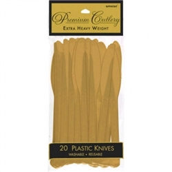 Gold Premium Plastic Knives - 20ct. | Party Supplies