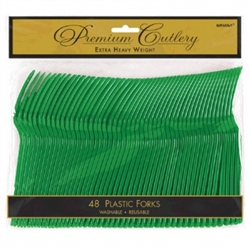Festive Green Heavy Weight Plastic Forks - 48ct | Party Supplies