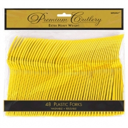 Yellow Sunshine Heavy Weight Plastic Forks - 48ct | Party Supplies
