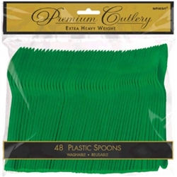 Festive Green Heavy Weight Plastic Spoons - 48ct | Party Supplies