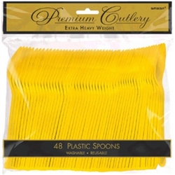 Yellow Sunshine Heavy Weight Plastic Spoons - 48ct | Party Supplies