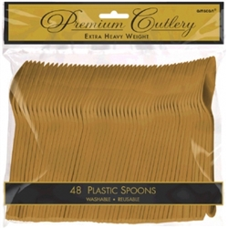 Gold Premium Plastic Spoons - 48ct. | Party Supplies