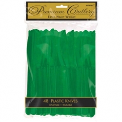 Festive Green Heavy Weight Plastic Knives - 48ct | Party Supplies