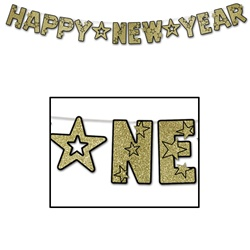 Black & Gold Glittered Happy New Year Streamer