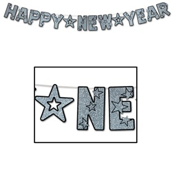 Black & Silver Glittered Happy New Year Streamer