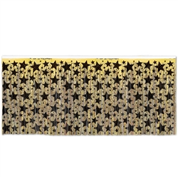 Black & Gold 1-Ply FR Metallic Table Skirting