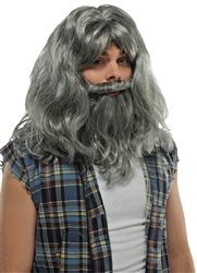 Gray Wig & Beard Set | Party Supplies