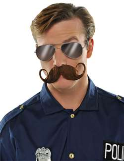 Handlebar Moustache - Brown | Party Supplies