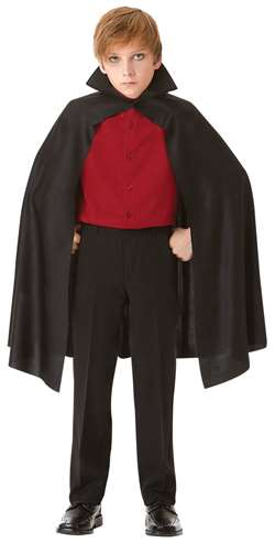 Child's Cape w/Collar - Black | Party Supplies