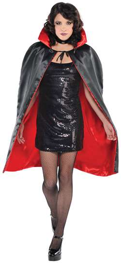 Adult Cape - Black w/Red Lining | Party Supplies