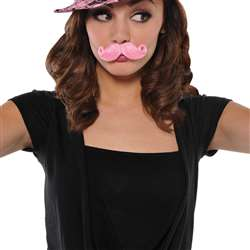 Mini Handlebar Moustache - Pink | Party Supplies