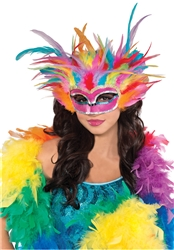 Rainbow Feather Mask | Party Supplies