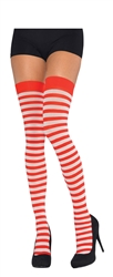 Red/White Striped Thigh Highs - Adult | Party Supplies