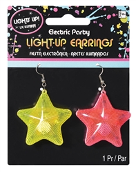 Electric Party Star Light-Up Earrings | Party Supplies