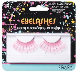 Electric Party Neon Pink w/Silver Tinsel Jumbo Eyelashes | Party Supplies