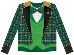 Men's Plaid Tux Long-Sleeve Dye Sub Shirt | Party Supplies