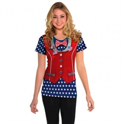 Patriotic Ladies' T-Shirt - L/XL | Party Supplies