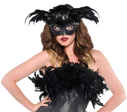 Raven Fantasy Feather Mask | Party Supplies
