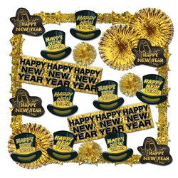 Glistening Gold New Year Decorating Kit - 24 Pieces