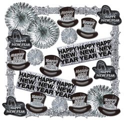 Shimmering Black & Silver New Year Decorating Kit - 22 Pieces