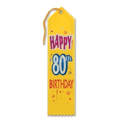 Happy 80th Birthday Award Ribbon